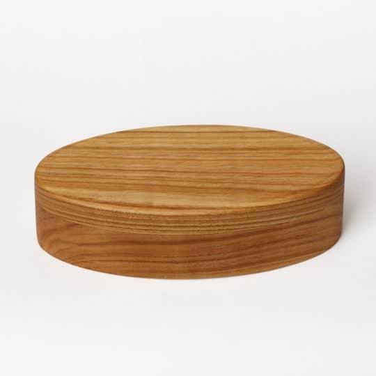Portagioie ovale in legno di ciliegio